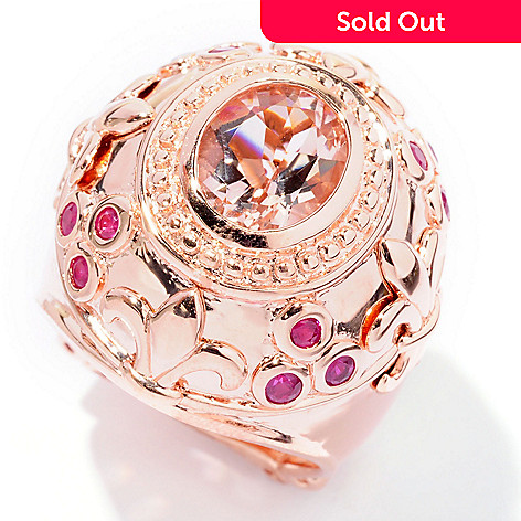 127-104 - Dallas Prince 2.85ctw Oval Pink Morganite & Red Ruby Wide Ring