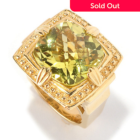 127-112 - Dallas Prince 10.11ctw Yellow Oro Verde & Blue Zircon Large Square Ring