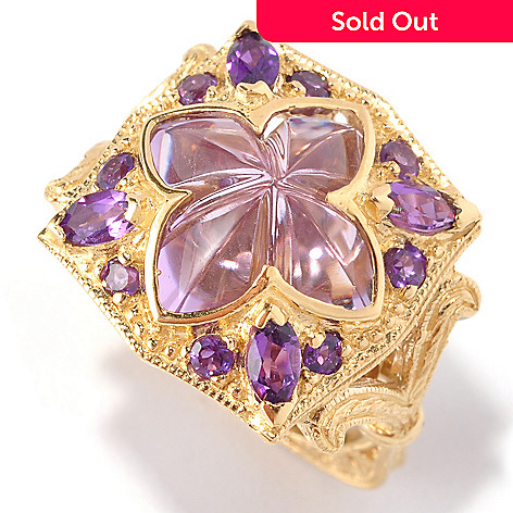 127-114 - Dallas Prince 7.45ctw Lavender & Purple Brazilian Amethyst Square Clover Ring