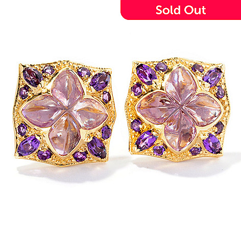 127-115 - Dallas Prince 15.36ctw Lavender & Purple Brazilian Amethyst Square Clover Earrings