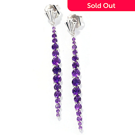 127-116 - Dallas Prince Sterling Silver 2.75'' 5.96ctw Gemstone Drop Earrings