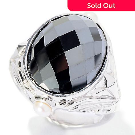 127-117 - Dallas Prince Sterling Silver 17 x 13mm Oval Black Hematite & Gemstone Ring