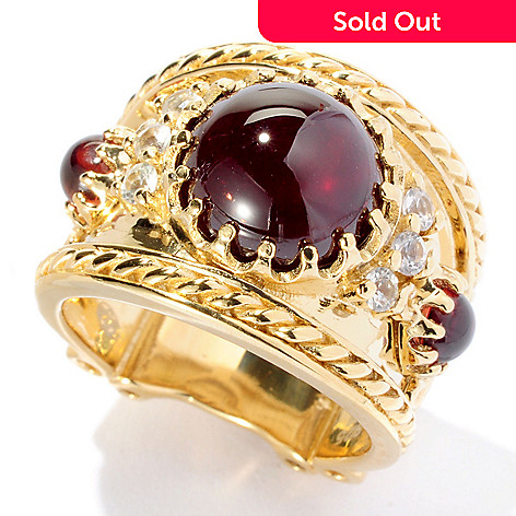 127-119 - Dallas Prince Designs 4.65ctw Red Garnet & White Sapphire Wide Band Ring