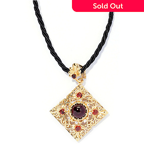 127-120 - Dallas Prince 6.09ctw Red Garnet & White Sapphire Enhancer Pendant w/ Rope Cord