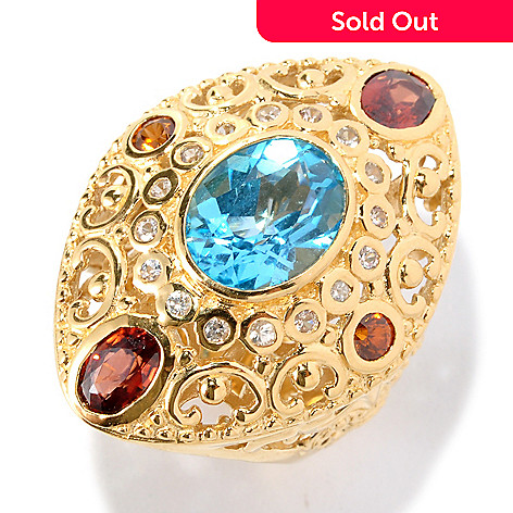 127-121 - Dallas Prince 4.56ctw Swiss Blue Topaz & Gemstone Marquise Shaped Ring