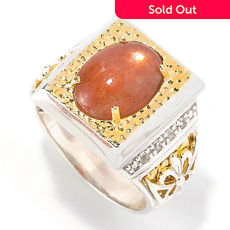 127-125 - Men's en Vogue 10.11ctw Sunstone & White Sapphire Ring
