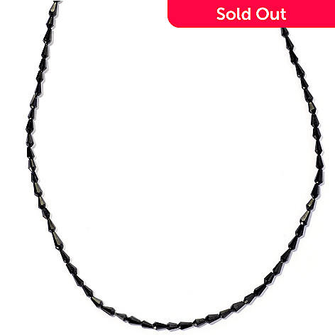 127-130 - Gem Insider Sterling Silver 18'' Black Spinel Drop Shaped Bead Necklace