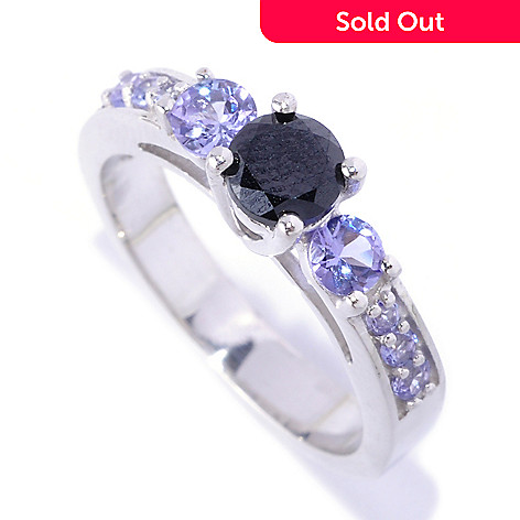 127-135 - Gem Treasures® Sterling Silver 2.34ctw Black Spinel & Blue Tanzanite Ring