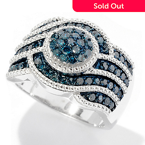 127-137 - Diamond Treasures® Sterling Silver 1.10ctw Blue Diamond Curve Ring