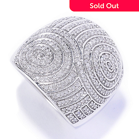 127-140 - Diamond Treasures® Sterling Silver 0.75ctw Diamond Swirl Wide Ring