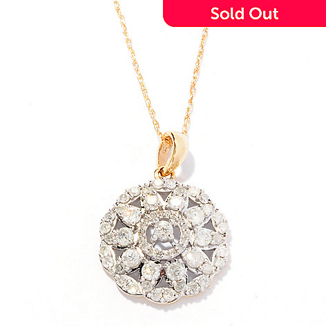 127-145 - Diamond Treasures® 14K Gold 1.00ctw Diamond Flower Pendant w/ Chain