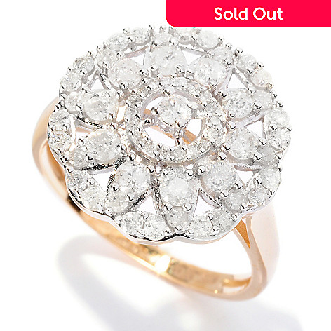 127-146 - Diamond Treasures® 14K Gold 1.00ctw Diamond Round Flower Ring