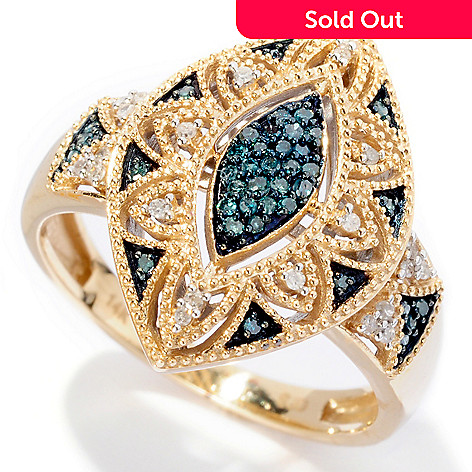 127-150 - Diamond Treasures 14K Gold 0.19ctw Blue & White Diamond Marquise Shaped Ring