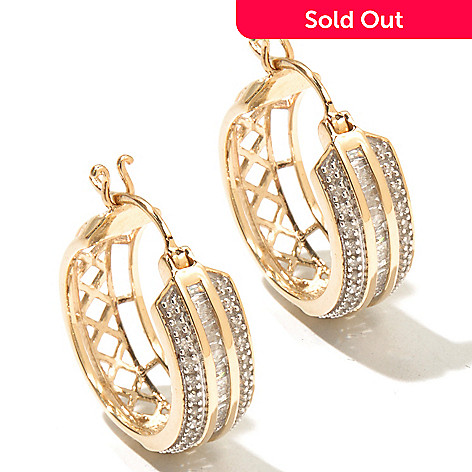 127-151 - Diamond Treasures 14K Gold 0.51ctw Round & Baguette Diamond Hoop Earrings