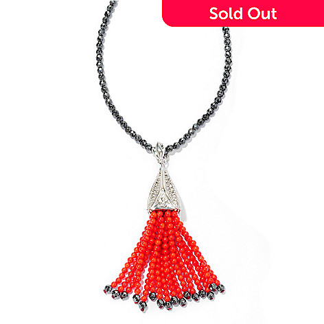127-153 - Dallas Prince Designs Sterling Silver Marcasite & Red Coral Enhancer Pendant w/ 32'' Hematite Chain
