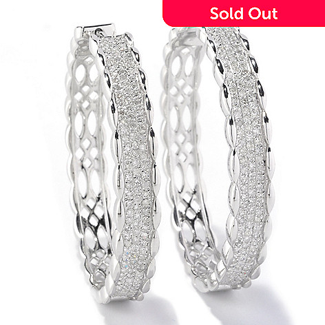 127-155 - Diamond Treasures Sterling Silver 1.01ctw Diamond Twisted Edge Hoop Earrings