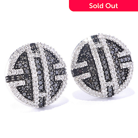 127-157 - Diamond Treasures Sterling Silver 0.98ctw Black & White Diamond Geometric Earrings