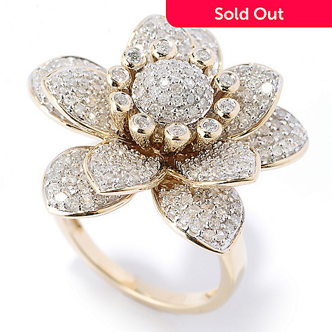 127-159 - Diamond Treasures 14K Gold 1.73ctw White Diamond Large Flower Ring