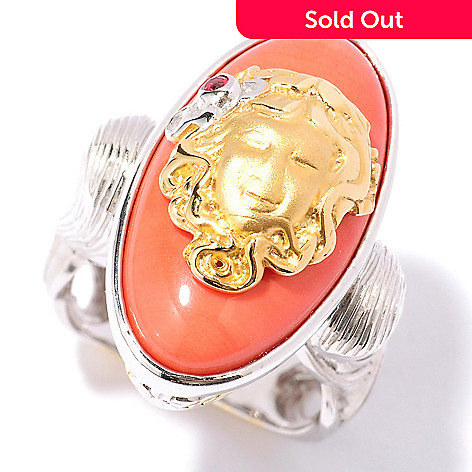 127-160 - Gems en Vogue 23 x 12mm Bamboo Coral & Orange Sapphire ''Art Nouveau'' Ring