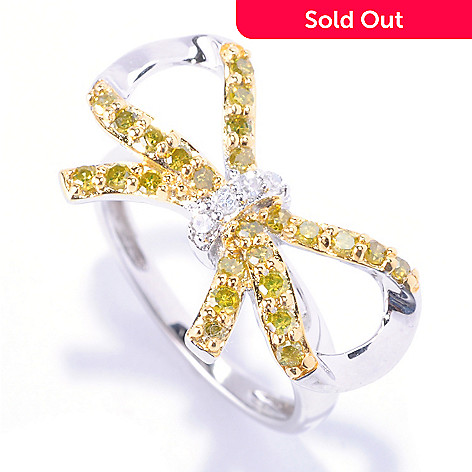 127-169 - Diamond Treasures® Sterling Silver 0.54ctw White & Fancy Color Diamond Bow Ring