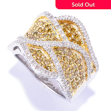 127-170 - Diamond Treasures Sterling Silver 1.39ctw Yellow & White Diamond Wave Ring