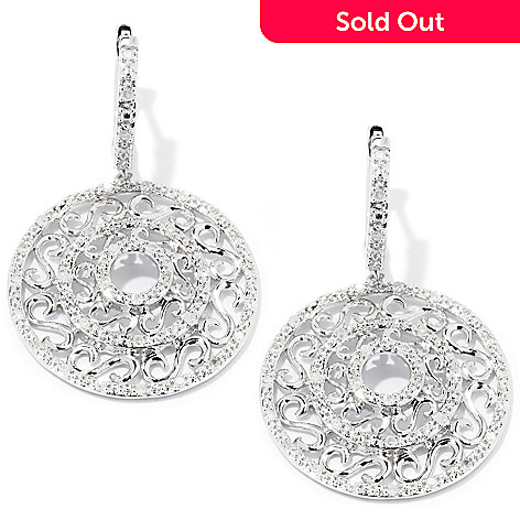 127-171 - Diamond Treasures Sterling Silver 0.70ctw Diamond Scrollwork Circle Earrings