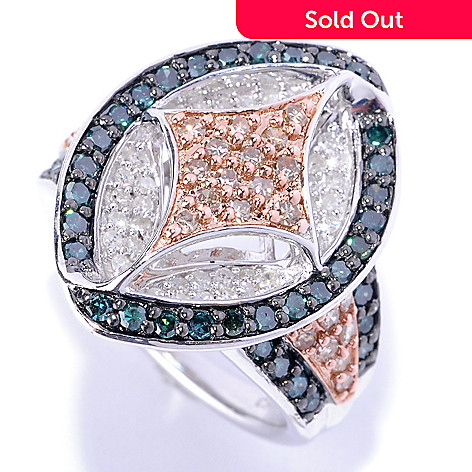 127-172 - Diamond Treasures® Sterling Silver 1.56ctw Marquise Shaped Multi Color Diamond Ring