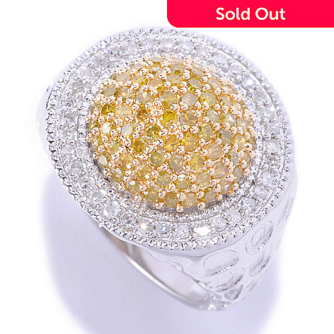 127-174 - Diamond Treasures® Sterling Silver 1.01ctw White & Colored Diamond Dome Circle Ring