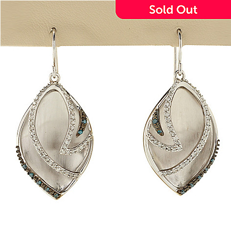 127-176 - Diamond Treasures Sterling Silver 0.50ctw White & Blue Diamond Teardrop Earrings