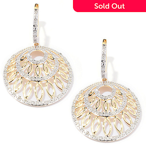 127-180 - Diamond Treasures 14K Gold 0.50ctw Diamond Circle Drop Earrings