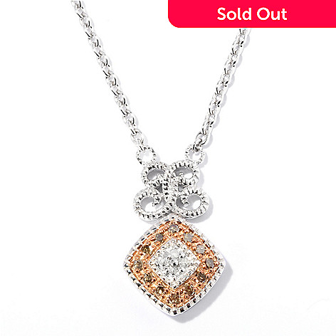 127-182 - Diamond Treasures® Sterling Silver 0.32ctw White & Colored Diamond Pendant w/ Chain