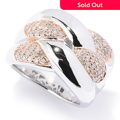 127-185 - Diamond Treasures Sterling Silver 0.52ctw Diamond Intertwined Pave Ring