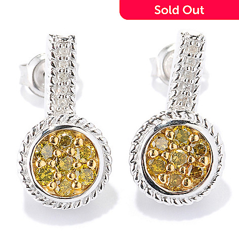 127-187 - Diamond Treasures Sterling Silver 0.61ctw White & Colored Diamond Circle Earrings