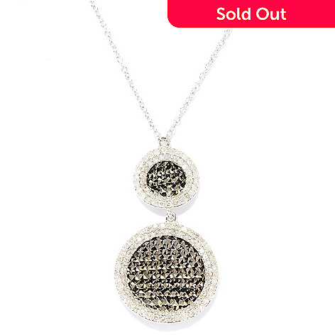 127-192 - Diamond Treasures Sterling Silver 0.80ctw Diamond Double Circle Pendant w/ Chain