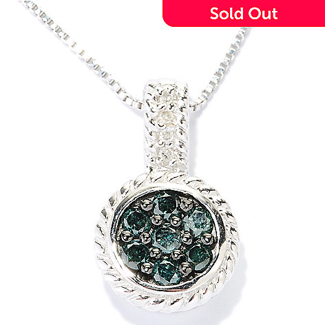 127-194 - Diamond Treasures Sterling Silver 0.35ctw White & Colored Diamond Circle Pendant  w/ Chain