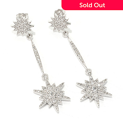 127-196 - EFFY 14K White Gold 1.25ctw Diamond Star Drop Earrings