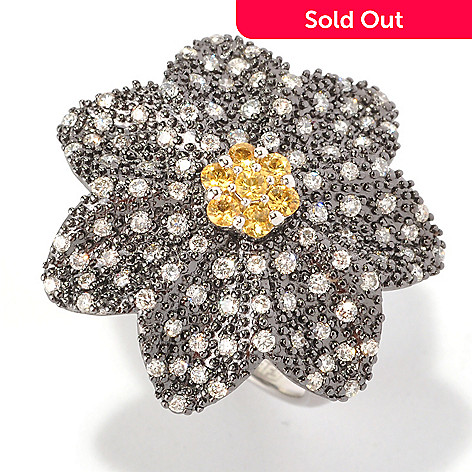 127-200 - EFFY 14K White Gold 1.33ctw Diamond & Yellow Sapphire Flower Ring