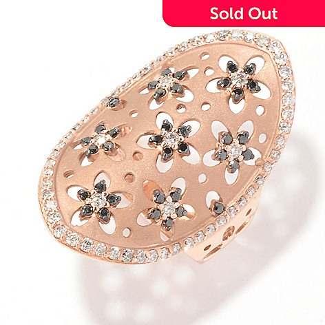 127-202 - EFFY 14K Rose Gold 0.90ctw Black & White Diamond Flower Oval Ring