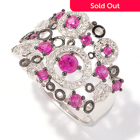 127-211 - EFFY 14K White Gold 1.02ctw Ruby & Diamond Circle Ring