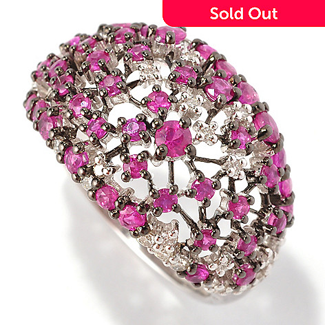 127-212 - EFFY 14K White Gold 1.47ctw Ruby & Diamond Scatter Ring