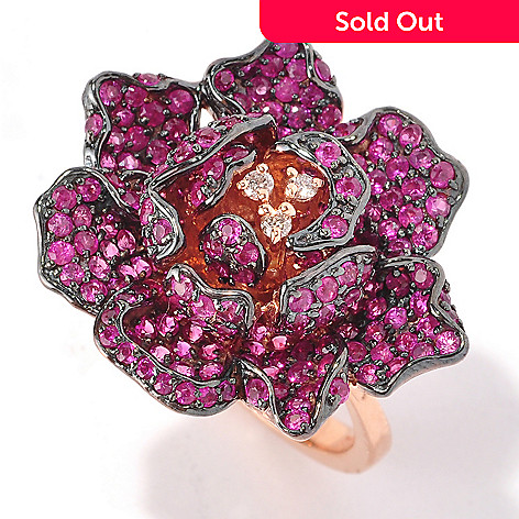 127-213 - EFFY 14K Rose Gold 3.00ctw Ruby & Diamond Rose Ring