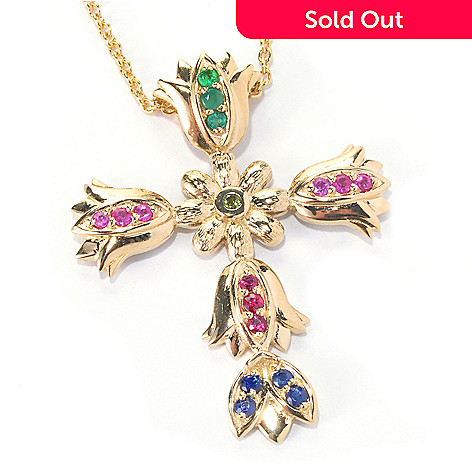 127-217 - Colette Multi Gemstone Flower Cross ''Iris'' Pendant w/ 20'' Chain