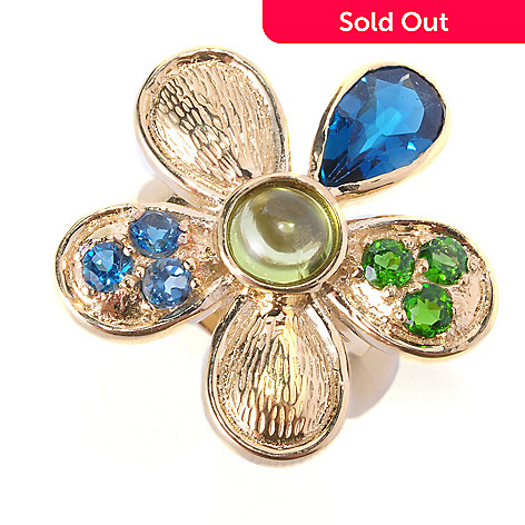 127-220 - Colette 2.65ctw Peridot, London Blue Topaz, & Chrome Diopside Flower Ring
