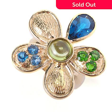 127-220 - Colette 2.65ctw Peridot, London Blue Topaz, & Chrome Diopside Flower Ring