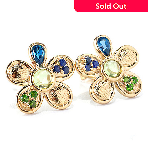 127-221 - Colette 1.29ctw Multi Gemstone Flower Stud Earrings