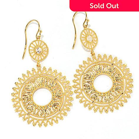 127-232 - Porsamo Bleu White Topaz Dual Medallion Drop Earrings