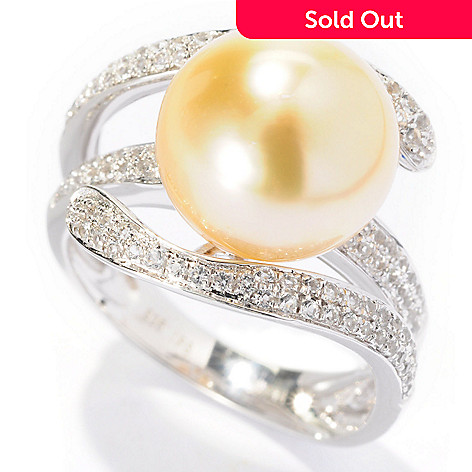 127-236 - Sterling Silver 11-12mm Golden South Sea Cultured Pearl & White Topaz Ring