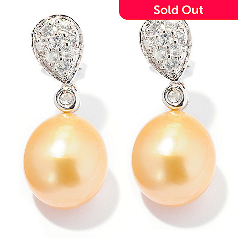 127-238 - Sterling Silver 9-10mm Golden South Sea Cultured Pearl & Zircon Earrings
