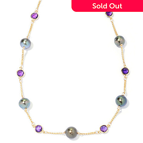 127-248 - 20'' 9-10mm Black Tahitian Cultured Pearl & Purple Amethyst Station Necklace