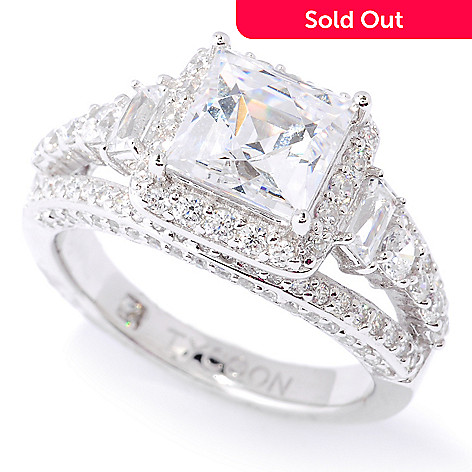127-252 - TYCOON Platinum Embraced™ 3.34 DEW Simulated Diamond Square Cut Halo Ring